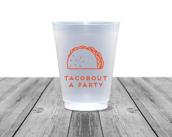 Taco Cups, Frosted Cups, Personalized Cups, Plastic Cups, Party Cups, Birthday Cups, Tacobout a Party, Tacos, Bachelorette, Royal, 1353