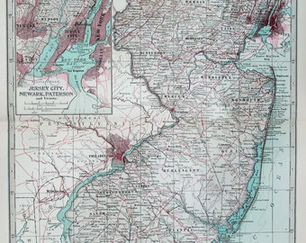 Antique Map : New Jersey, USA, US State Map. Encyclopedia Britannica, 1890s (72)