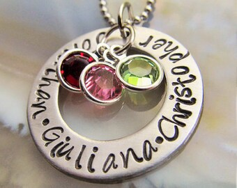 Personalized Mothers Necklace, Mom Necklace, Mothers Jewelry Mothers Day Gift  Name Birthstone Necklace Custom Jewelry, Hand Stamped Mother