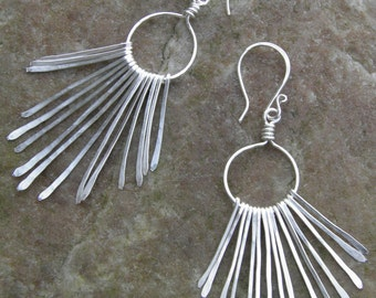 "Earrings... ""Silver Paths"" hammered silver chandelier earrings."