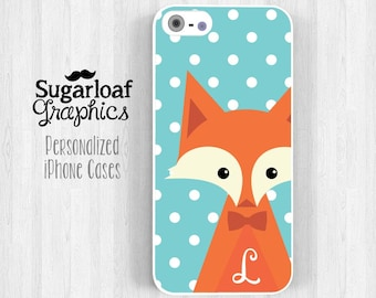 Cute Fox Personalized Initial iPhone 5 Case iPhone 7 6 5s iPhone 5c Case iPhone 4 iPhone 4s Samsung Galaxy S3 S4 S6 Mint Blue Polka Dot am05