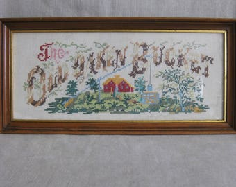Vintage Framed Cross Stitch, Old Oaken Bucket, Rustic Cabin Decor, Embroidery, Rectangle, Sweet, Hand Sewn, Linen, Farm, House, Country Chic