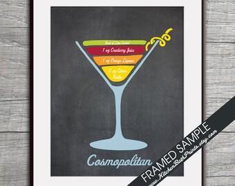 Cosmopolitan Recipe Diagram (Vodka Martini Cocktail)  Art Print (Featured Vintage Chalkboard) Cocktails and Mixers Recipe Chart