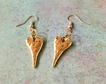 HEART Earrings Shiny Gold Hammered Dangle