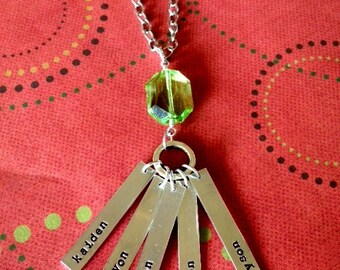 Longer personalized hand stamped necklace with jewel