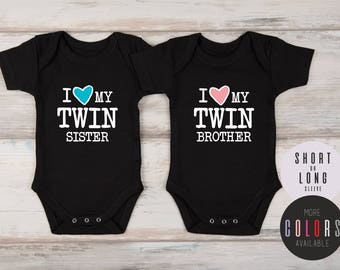 Twin Baby Gift, Boy and Girl Twin Outfits, Baby Twins Gift, Baby Twins Boy and Girl Clothes, I Love My Twin Set of 2 Matching Outfits