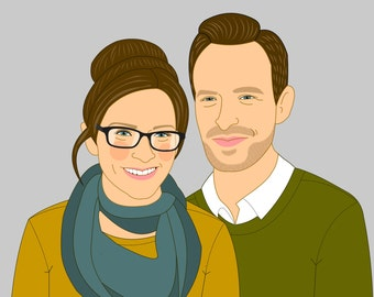 Portrait from photo. Wedding Engagement or anniversary gift . Custom Portrait Gift for couples Custom Illustration Home decoration