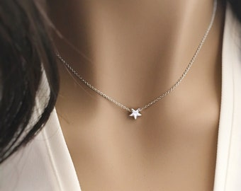 Tiny star necklace- silver rose gold or 16k gold- dainty layering necklace,bridesmaid gift,teen gift,best friend gift celestial jewelry