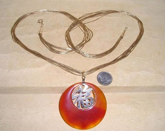 Vintage Signed Gold Filled Necklace With Natural Red Jade Pendant 1960 's Jewelry 11001