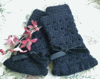 Crocheted Fingerless Gloves Merino Wool Black Victorian Women Small