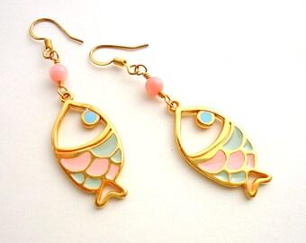 Fish earrings/ Drop earrings/ Pastel earrings/ pale pink earrings/ coral earrings/ summer earrings/ gold earrings/ baby pink earrings