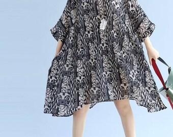 Summer oversized dress loose large size Pleated dress Women's Dresses summer