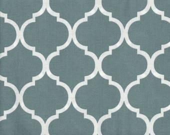 Quatrefoil Fabric White on Slate Blue 100% Cotton