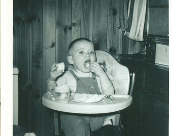 1960 Toddler Boy Eating Bread in High Chair Sippy Cup 60s Vintage Photograph Black White Photo