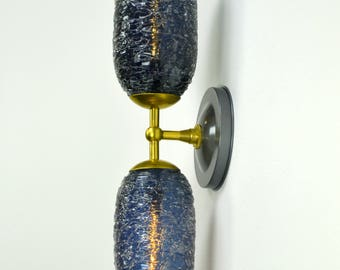 Leger Dark Blue Spun Glass Double Wall Sconce with Brass fittings