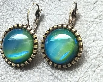 Real Vintage 50s Antique Style Green Blue Satin Dragons Breath Fire Opal Glass Cabochons Brass Color Metal Dangle Handmade Earrings