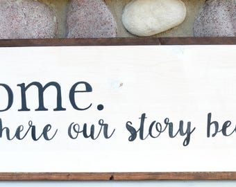 Home (Where Our Story) - Farmhouse Sign