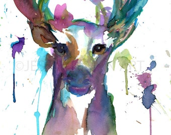 Buck Watercolor Print, Watercolor Deer, Print of Deer, Abstract Deer Painting, Colorful Deer Painting, Print of Deer, Nursery Art, Deer Art
