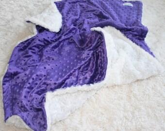 Purple Bubble MInky & White Swirl Minky Blanket