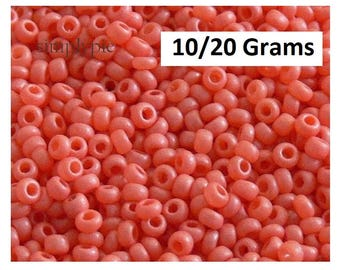 11/0 Czech Silky Coral Glass Seed Beads