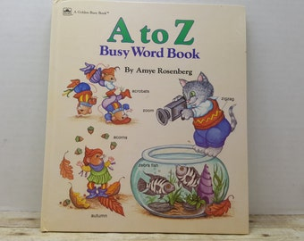 A to Z Busy Word Book, 1988, Anne Rosenberg, vintage kids book