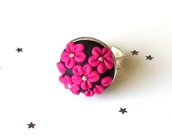 Pink flower adjustable ring - polymer clay ring - pink ring - adjustable ring - gift for her