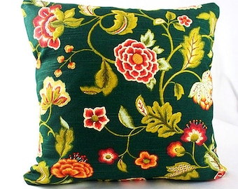 Green floral pillow cover, Green floral cushion cover, Green pillow case, Leaf pillow covers, Green floral pillow, Botanical pillow covers