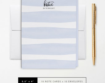 Flat or Folded Note Cards // Set of 10 // Watercolor Pastel Blue Stripes // Personalized Stationery // S116