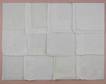 Wedding Hanky Lot,Vintage Hanky Lot,One Dozen White Wedding Vintage Hankies Handkerchiefs (Lot #102)
