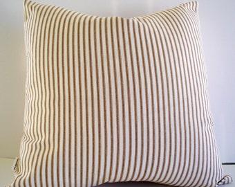 Brown Ticking Pillow, Farmhouse Pillow Cover Brown Cream Ticking Stripe Farmhouse Cottage Pillow 0