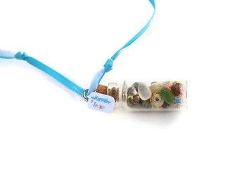 Mermaid Necklace, Mermaid Treasure, Sea Shells, Beach Glass, Blue, Star Glitter, Microbead, Sea
