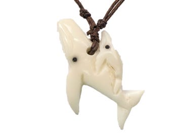 Tagua Nut Necklace: Whale with Baby (1153-N664) P13
