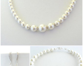Mother of the Bride Gift, Mother of the Groom Gift from Bride, Pearl Jewelry Set, Earring Bracelet and Necklace Set, Classic Wedding Jewelry