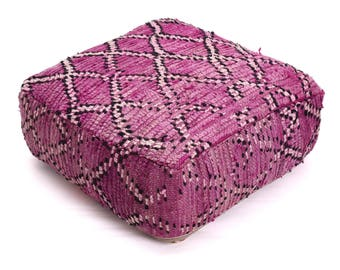 Moroccan Pouf, Floor Cushion, Berber Kilim Pouf Ottoman, Floor Pillow, Foot Stool, Refashioned from a Vintage Berber Rug. PVR019