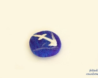 Gift for Sagittarius, Needle felted brooch, Sagittarius Zodiac, Birthday gift, Sagittarius brooch, Royal Blue brooch, Zodiac gifts