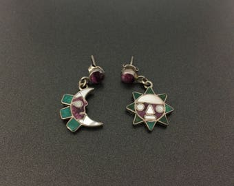 Vintage 950 Sterling Silver Stones Inlay Sun and Moon Dangling Earrings