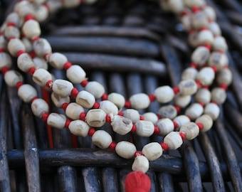 Holy basil (Tulsi) Hand Knotted Japa Mala 108 beads mala purified & blessed - Tusli Japa Mala Yoga Meditation- krishna Prayer Mala necklace