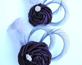 Set of two purple bridesmaids flower fascinator,  wedding hair piece - Eggplant rosette with grey goose feathers and rhinestone - Patina