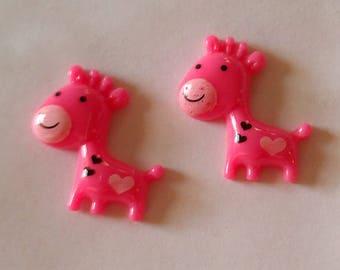 2 Mini Resin Giraffe Buttons - Dark Pink - #R-00130