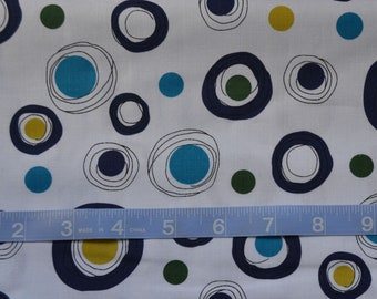 Designer Fabric -Atomic Garden - White with Purple Circles -Modern Fabric - Quilting Fabric, Cotton Yardage -Fat Quarter, By The Yard