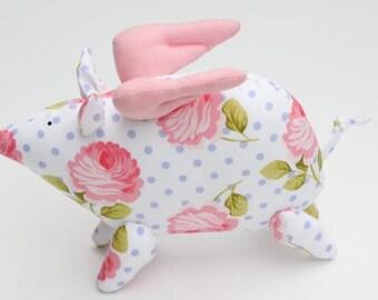 Flying Pig - Stuffed Animal Toy Softie Plush Toy handmade soft toy piggy purple polka dot pink rose Nursery Decor Toy gift for birthday,