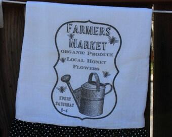 Shabby Chic, Farmhouse, Cottage, Ruffled Flour Sack, Tea Towel. (Farmers Market) WHITE ruffle ONLY