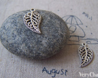 20 pcs of Antique Silver Filigree Leaf Charms  10x16mm A4162
