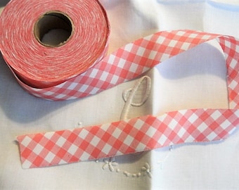 CHARMING Vintage French Pink White Gingham Ribbon Trim Bias Cut Cotton For Aprons,Childrens Clothing,Sewing Projects,Farmhouse Decor,Wedding