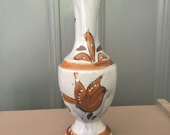 "Vintage Vase Pottery Mexico with Bird Flowers Leaves 10"" Mexican Brown"