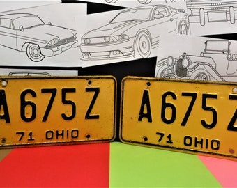 """1971 OHIO LICENSE PLATES...""""A 675 Z""""...Original Not Reproductions...Not Restored"""