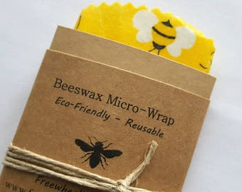 Micro Beeswax Wrap - Reusable Beeswax Food Wrap - Natural Living Accessories - Eco friendly lunch - XS - mason jar wrap