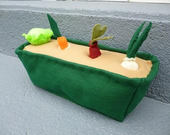 Felt Vegetable Garden, Felt Food Playset, Montessori Toy, Kids Felt Toy Gift, Pretend Playfood, Plush Veggie Patch, Ecofriendly Play Set
