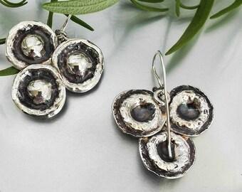 Triangle Earrings, Modern Earrings, Modern Dangles, Artisan Silver Earrings, Hammered Dangles,  Triangle Dangles, Statement Earrings