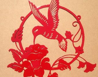 Large Hummingbird Flower Metal Wall Art  (O)